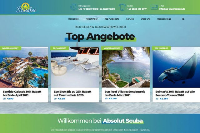 Absolut Scuba Webseite